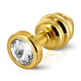Diogol - Ano Butt Plug Ribbed Gold Plated 30 mm
