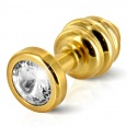 Diogol - Ano Butt Plug Ribbed Gold Plated 35 mm